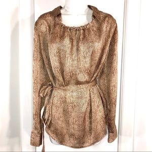 Silky Snakeprint Top With Belt, Size L
